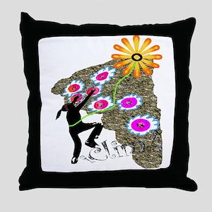 Young Girl Flower Climber Throw Pillow