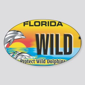 License Plate Dolphin Sticker (Oval)