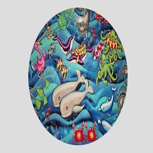 fun-under-the-sea-fish Oval Ornament