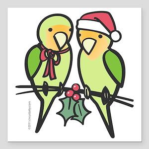 """lovebirds_santa Square Car Magnet 3"""" x 3"""""""