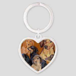 dachshunds_mural3 Heart Keychain