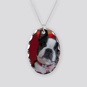 Ruthie the Boston Terrier Necklace Oval Charm