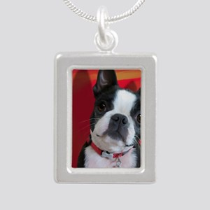 Ruthie the Boston Terrie Silver Portrait Necklace