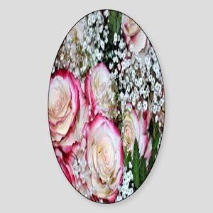 roses babys breath bouquet nook Sticker (Oval)