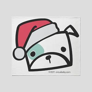 bulldog_santa Throw Blanket