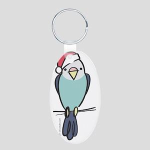 parakeet_blue_santa Aluminum Oval Keychain