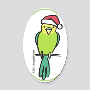 parakeet_green_orn Oval Car Magnet