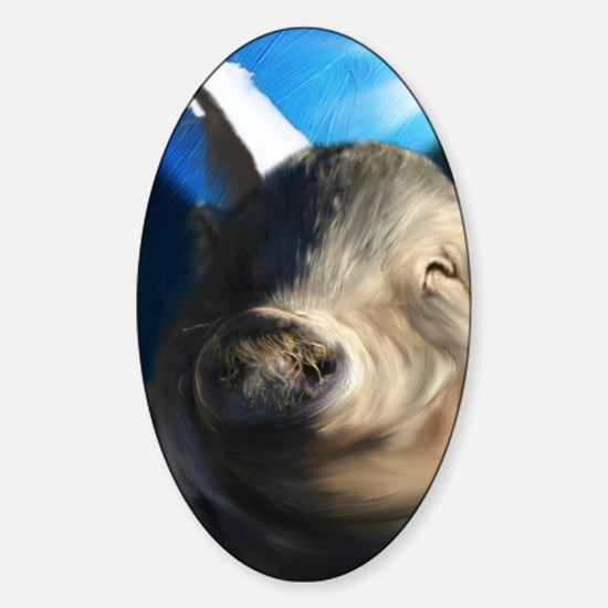 Angel pig journal Sticker (Oval)