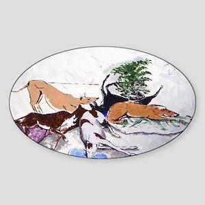 Hound Nap 1 blanket Sticker (Oval)