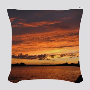 SouthChannelSunset02 Woven Throw Pillow