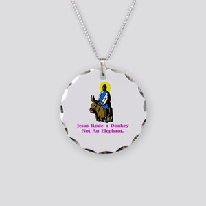 JesusRodeADonkeyXXX Necklace Circle Charm