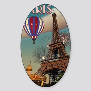 Paris - Carrousel and Eiffel Tower Sticker (Oval)