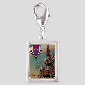 Paris - Carrousel and Eiffel Silver Portrait Charm