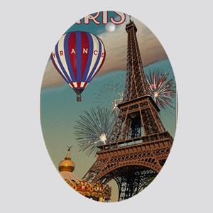 Paris - Carrousel and Eiffel Tower Oval Ornament
