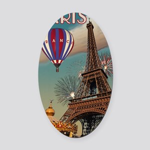 Paris - Carrousel and Eiffel Tower Oval Car Magnet