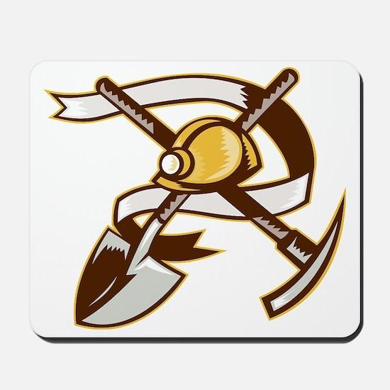 coal miner hardhat spade shovel pickax Mousepad