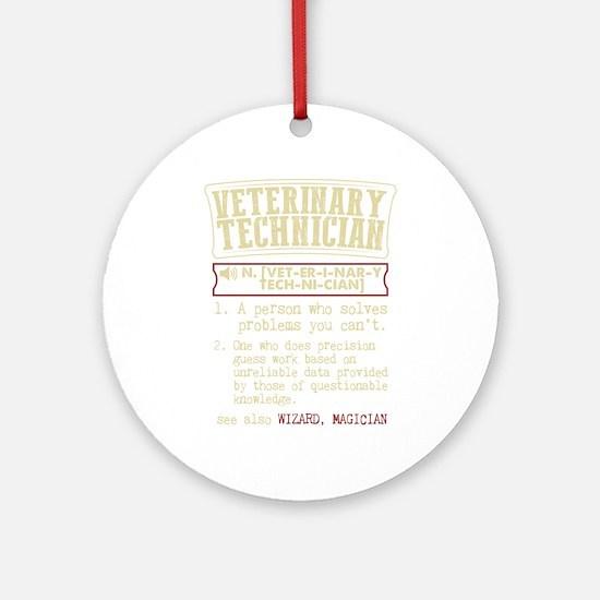 Veterinary Technician Dictionary Te Round Ornament