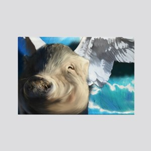 Angel-Pig-Large-Framed-Print Rectangle Magnet