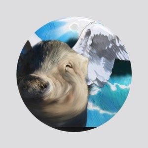 Angel-Pig-Large-Framed-Print Round Ornament