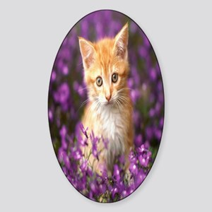 kitten_purple_flowers kindle Sticker (Oval)
