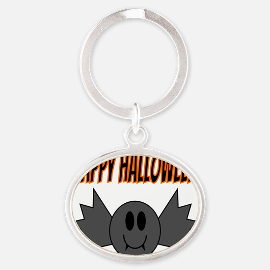 Halloween Bat Oval Keychain