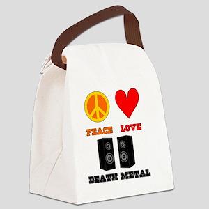 Peace Love Death Metal Canvas Lunch Bag