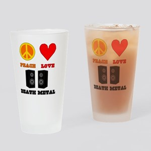 Peace Love Death Metal Drinking Glass