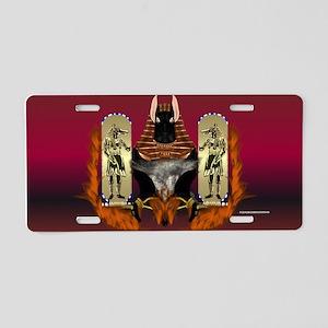 Anubis Flaming Aluminum License Plate