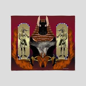Anubis Flaming Throw Blanket