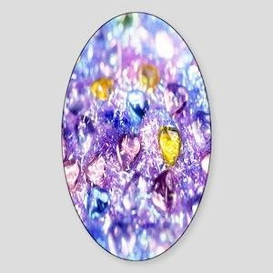 Crystal-Purple-Yellow-Blue-Hearts n Sticker (Oval)
