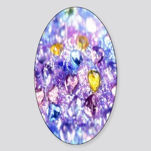 Crystal-Purple-Yellow-Blue-Hearts k Sticker (Oval)