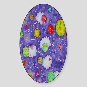 Kids In Space Purple ipad Sticker (Oval)