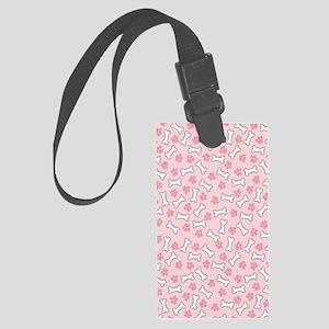 Pink Paws  Bones kindle Large Luggage Tag