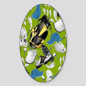 Tee Time golf bag golf clubs nook Sticker (Oval)