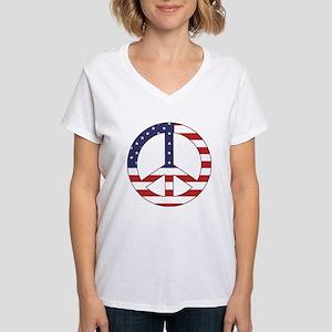 Peace Sign (American Flag) Women's V-Neck T-Shirt