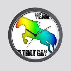 yeah im that gay on white Wall Clock
