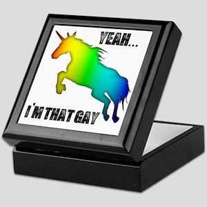 yeah im that gay on white Keepsake Box