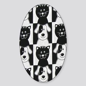 Smiley Pets Cats  Dogs nook Sticker (Oval)