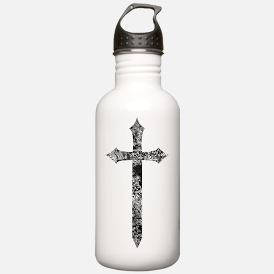 distressed cross blk Water Bottle