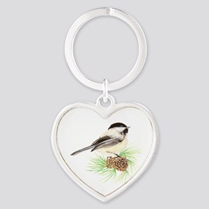 Chickadee Pine Heart Keychain
