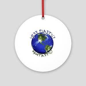 Less_Plastic Round Ornament