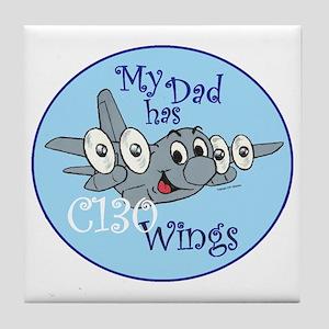 Mil 5 My Dad C130 wings copy Tile Coaster