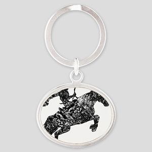 cowboy unicorn tee wht Oval Keychain