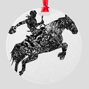 cowboy unicorn tee wht Round Ornament