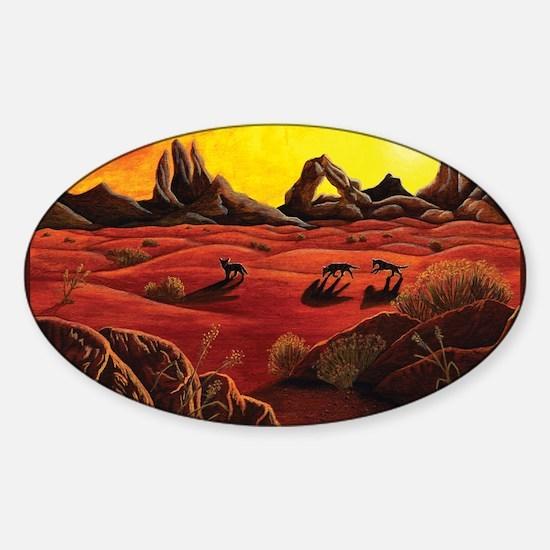 desert shadows with border Sticker (Oval)