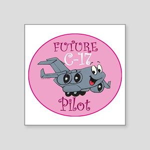 "Mil 2 C17 baby pilot F Square Sticker 3"" x 3"""