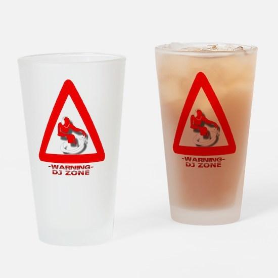 Warning_DJ_White Drinking Glass