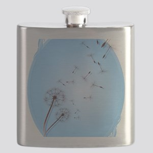 Dandelion on Baby Blue Oval Trans Flask