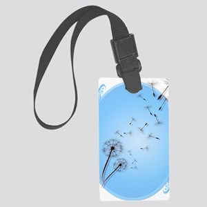 Dandelion on Baby Blue Oval Tran Large Luggage Tag