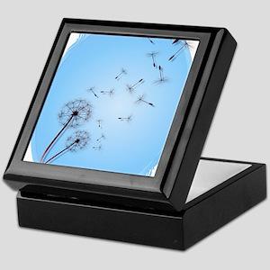 Dandelion on Baby Blue Oval Trans Keepsake Box